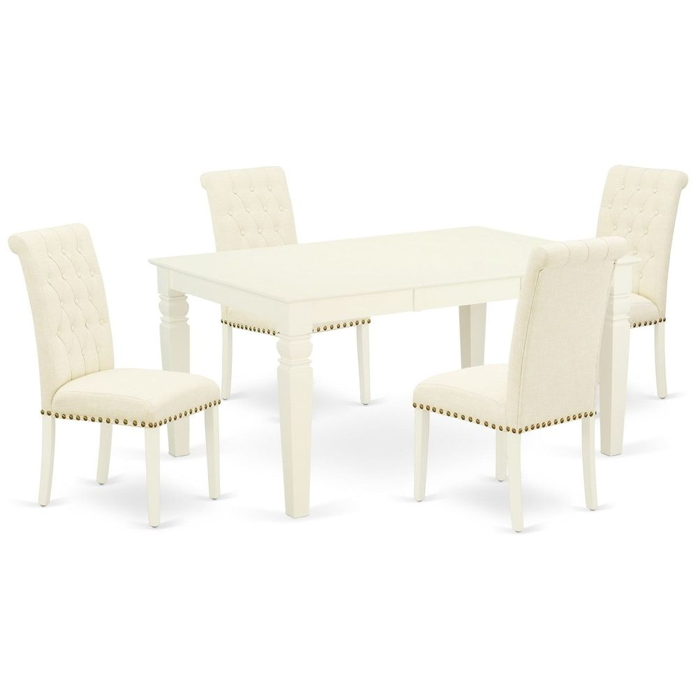 Rectangle Table and Parson Chairs in Light Beige Linen Fabric (Number of Chairs and bench Option) (7-Piece Sets - 6), East West Furniture