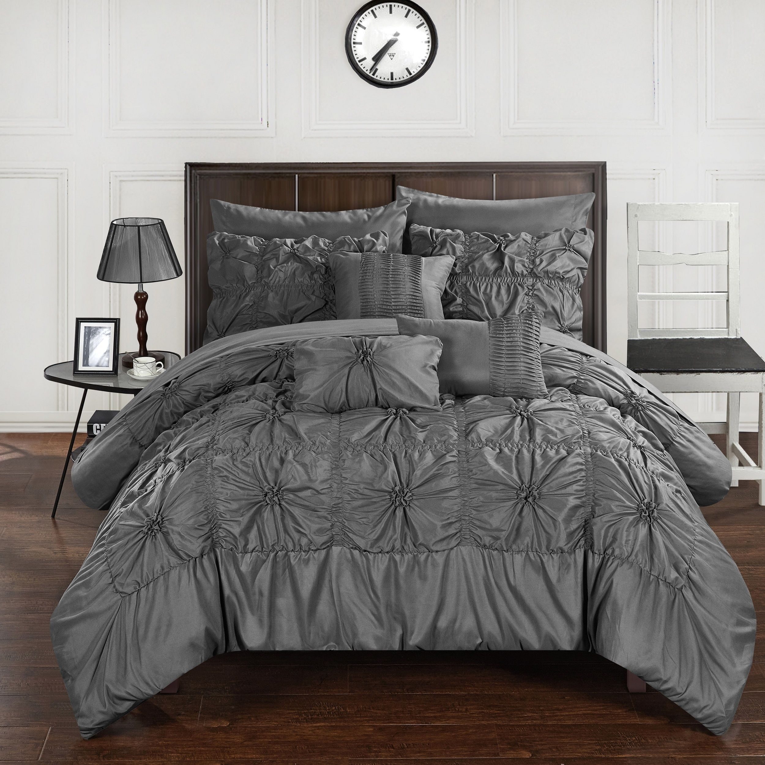 Charcoal Bedding Sets Chic Home 10 Piece Grantfield Bed In A Bag Charcoal Comforter Set
