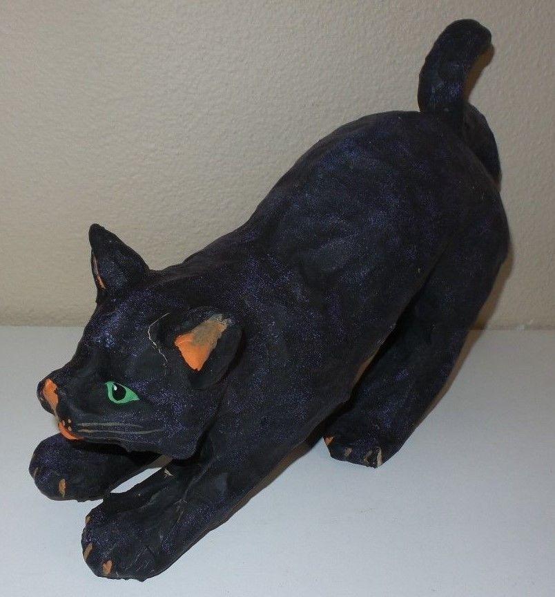 antique vintage paper mache black cat halloween decoration old original - Black Cat Halloween Decorations