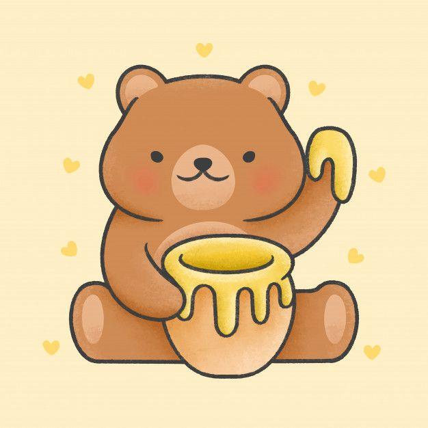 Cute Teddy Bear Holding Honey Jar Cartoon Hand Drawn Style In 2020 Teddy Drawing Cute Bear Drawings Teddy Bear Drawing Easy
