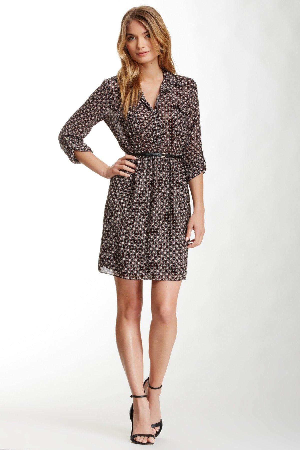 544e3e62045 Cute Belted Shirt Dresses
