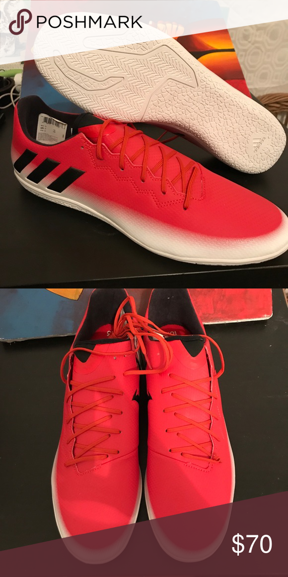 ADIDAS MESSI 16.3 INDOOR TRAINERS Adidas Messi 16.3 Indoor Trainers Mens  Red Bk Wh Football Soccer Fusbal Shoes adidas Shoes Athletic Shoes 28aed61ac15