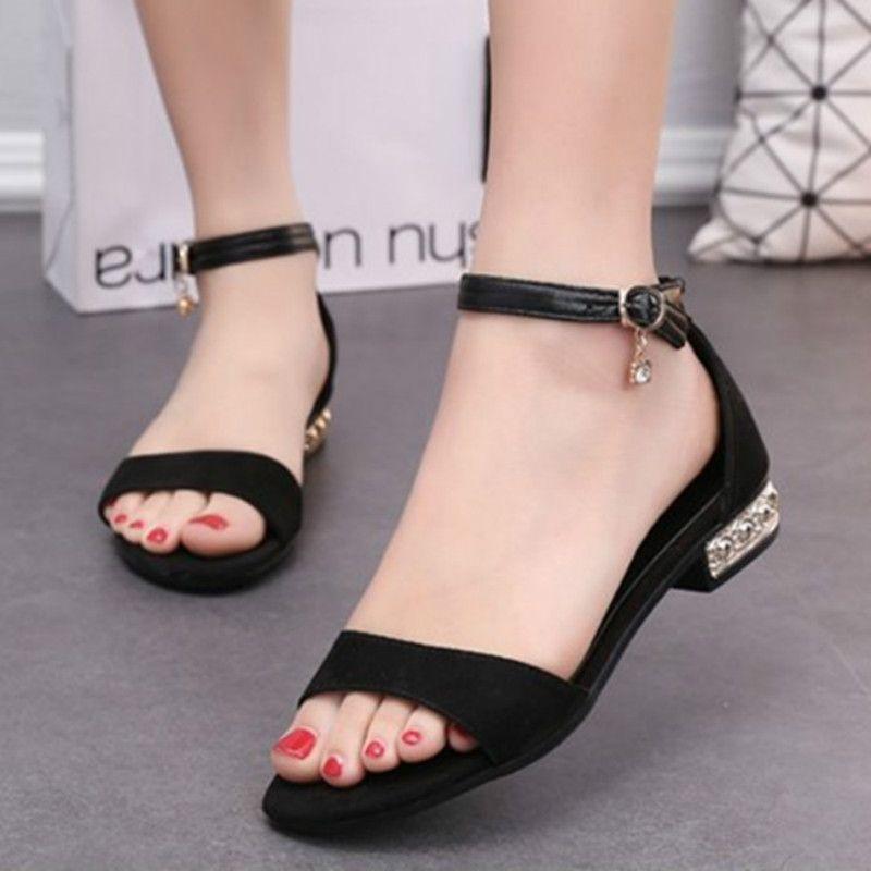 Women sandals 2017 flat heel summer girls lady flats sandals sequins  elegant fashion sandals shoes black