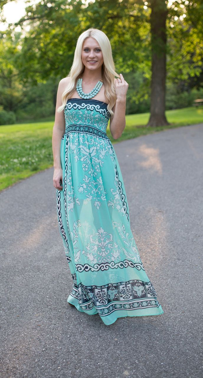 Magnolia Boutique Indianapolis - Batik Print Strapless Maxi Dress- Mint, $39.00 (http://www.indiefashionboutique.com/batik-print-strapless-maxi-dress-mint/)