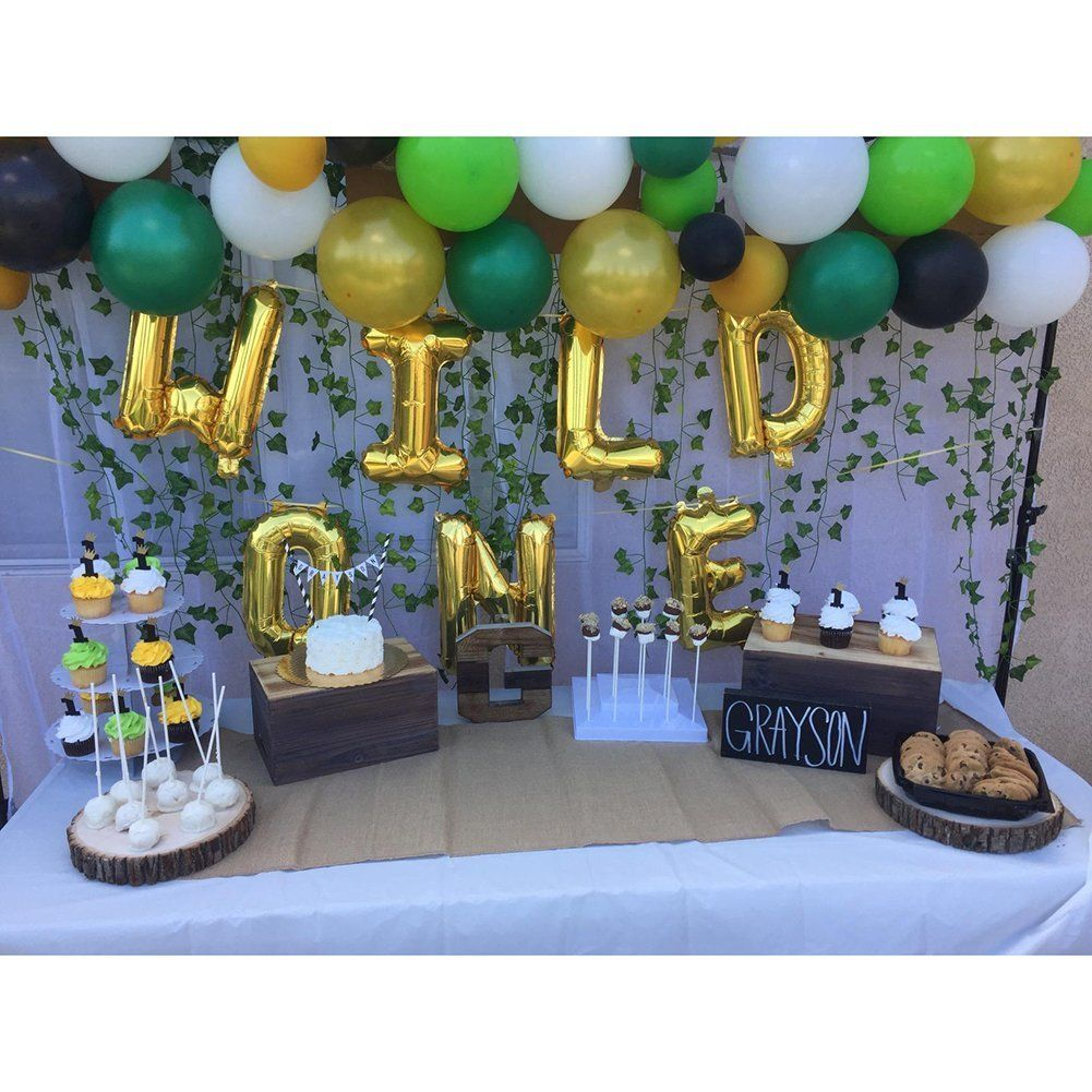Amazon 16 INCH WILD ONE Kids First Birthday Balloons With 12 PCS Artificial Palm Leaves Baby Girl Boy 1st Bday Party Supplies Air Pump Toys