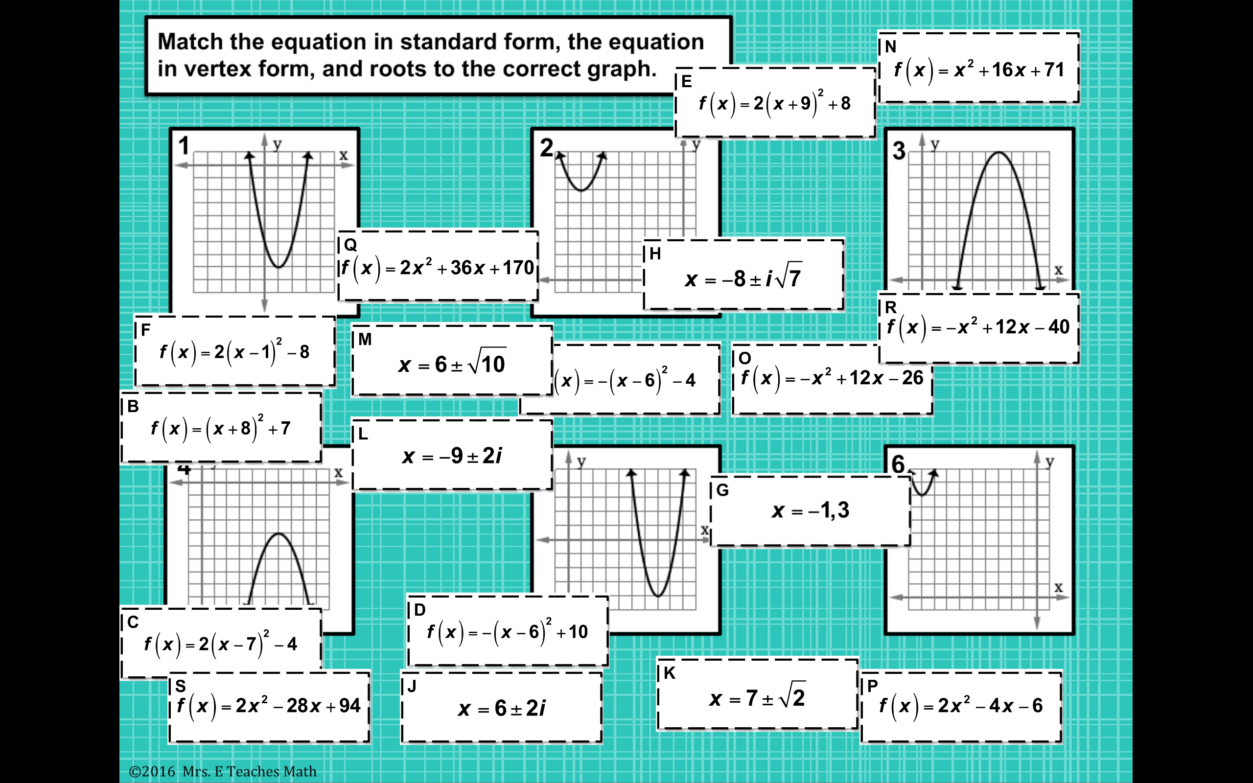 Quadratic Equations Card Sort Digital Activity Quadratics Algebra Interactive Notebooks School Algebra [ 1600 x 2560 Pixel ]