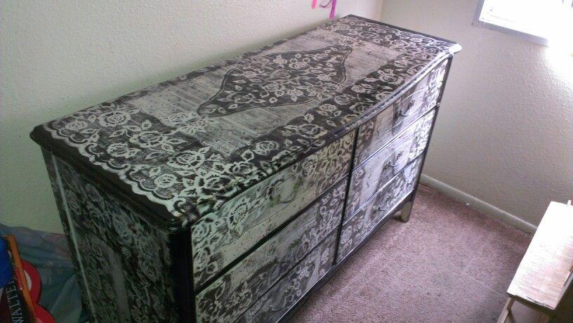Diy Lace Print Dresser Spray Paint Technique Really Easy Spray