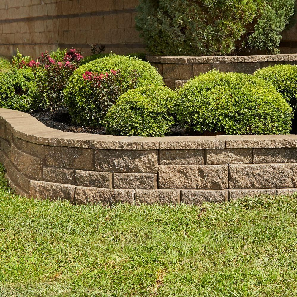Pavestone Rockwall Large 6 In X 17 5 In X 7 In Pecan Concrete Retaining Wall Block 48 Pcs 34 9 Face Ft Pallet 79824 The Home Depot Landscaping Retaining Walls Concrete Retaining Walls Backyard Landscaping