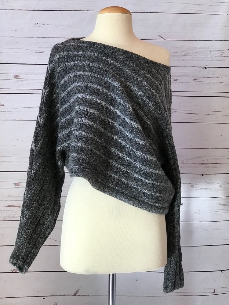 baa1f1905358 NWT ZARA Knit Collection Gray Knit Sweater Size S Crop Off Shoulder NEW   Zara  OffShoulder