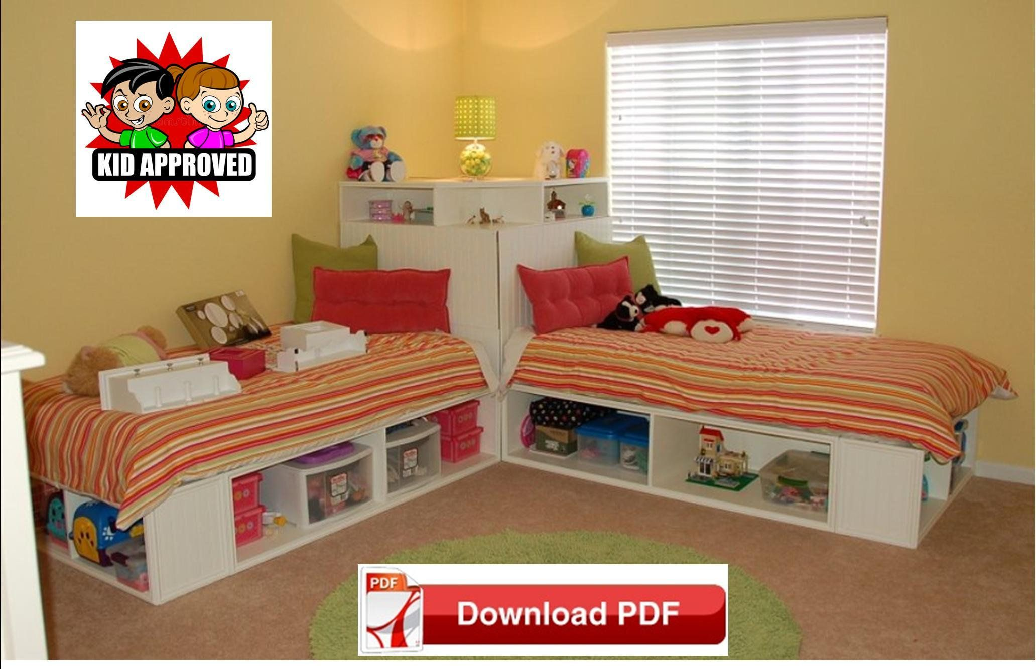 corner bed plan/Bunk Bed option twin bed Plans/ Twin Beds