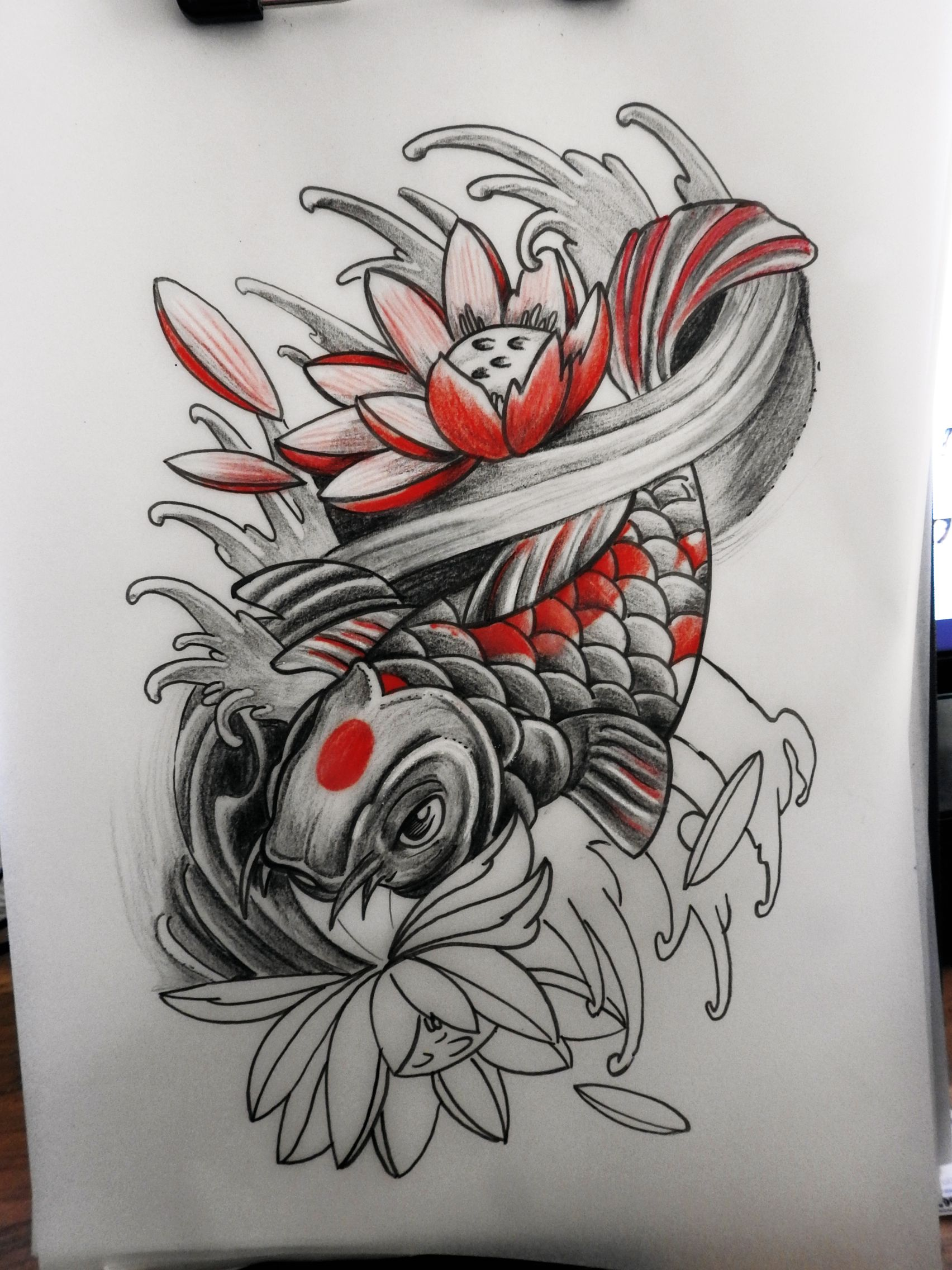 tattoo art design custom drawing pencil vorlage entwurf asia koi water lotus