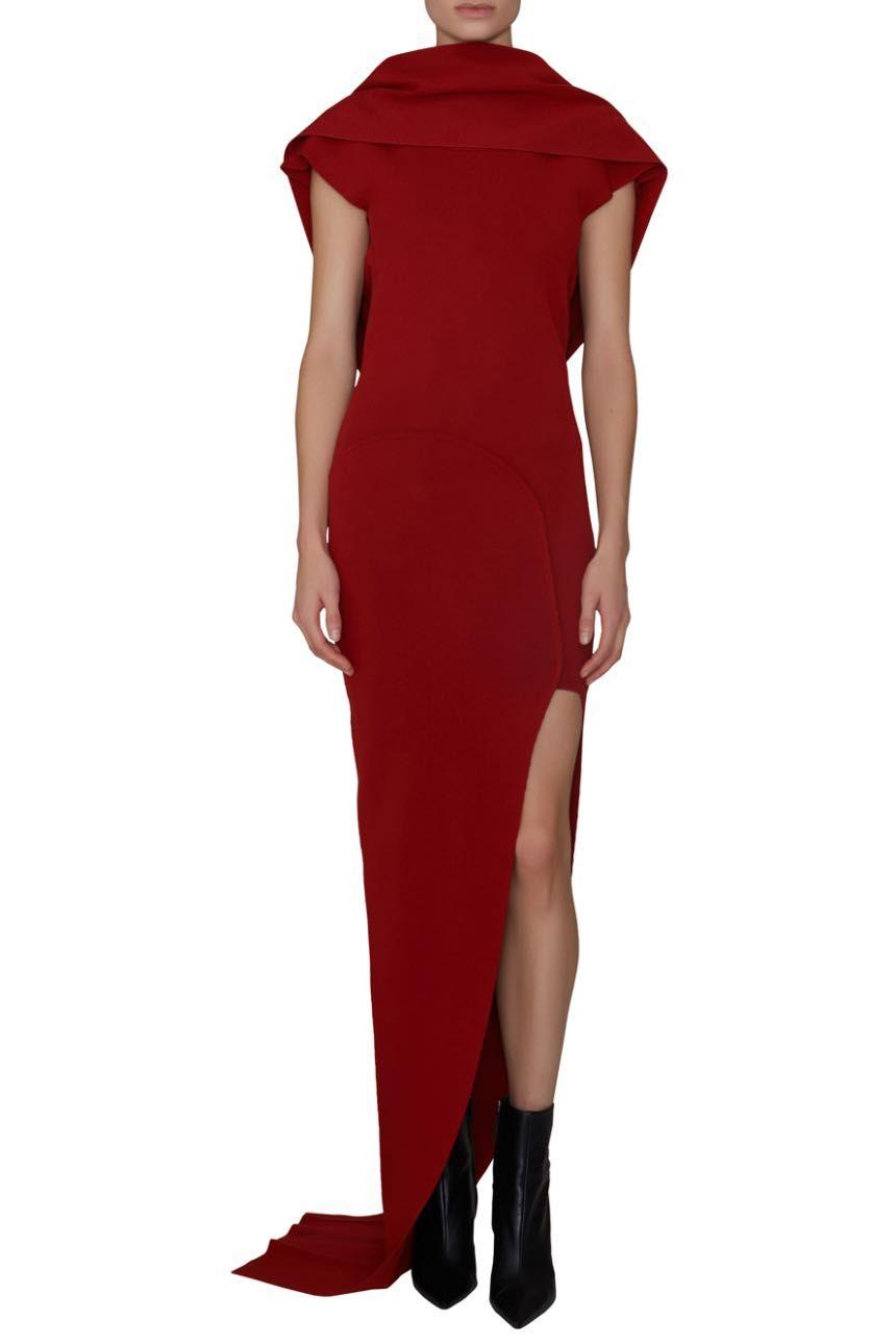 Rick Owens Theresa Dress Armarium Dresses Wrap Dress High Neck Dress [ 1290 x 860 Pixel ]