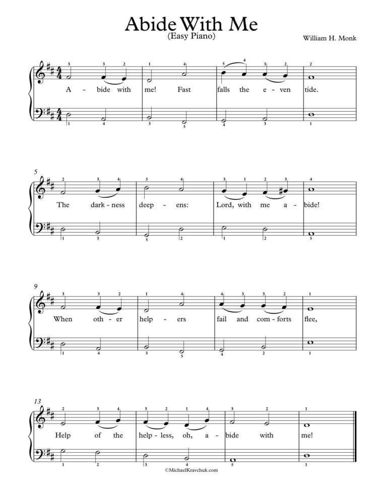 Abide With Me Easy Sheet Music Abide With Me Piano