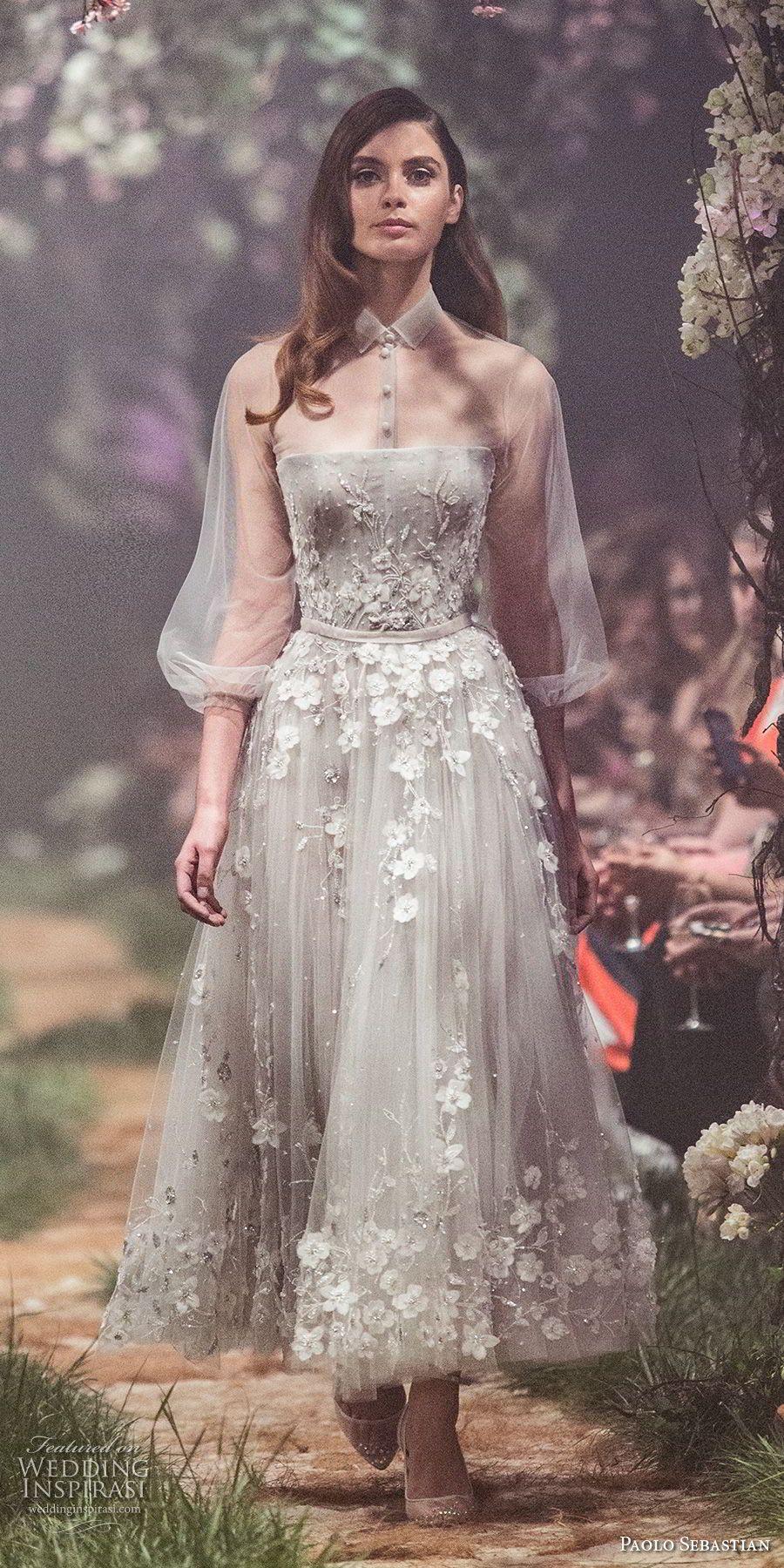 paolo sebastian spring 2018 couture three quarter bishop sleeves collar  shirt full embellishment romantic gray tea length short wedding dress (22)  mv ... 0ff313773