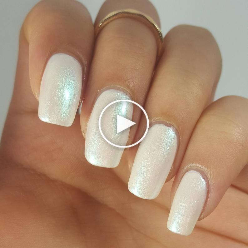 White Pearl Iridescent Nail Polish Duo 5 Free Handmade Indie Shiny Nail Polish Animal Cruelty Free In 2020 Iridescent Nail Polish Shiny Nails Polish Nail Polish