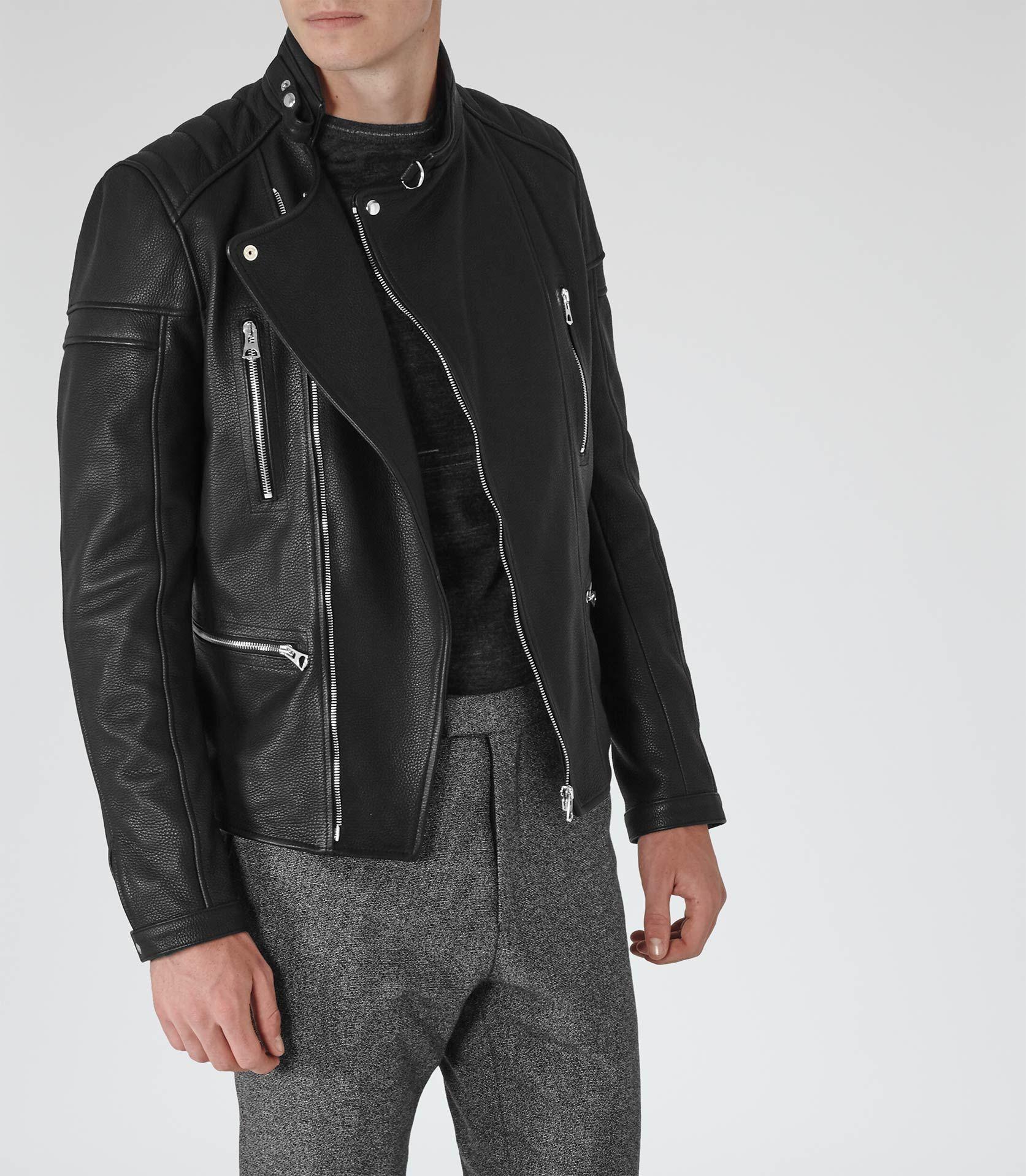 558ebaf3a Mens Black Leather Biker Jacket - Reiss Spitfire | yeah | Black ...