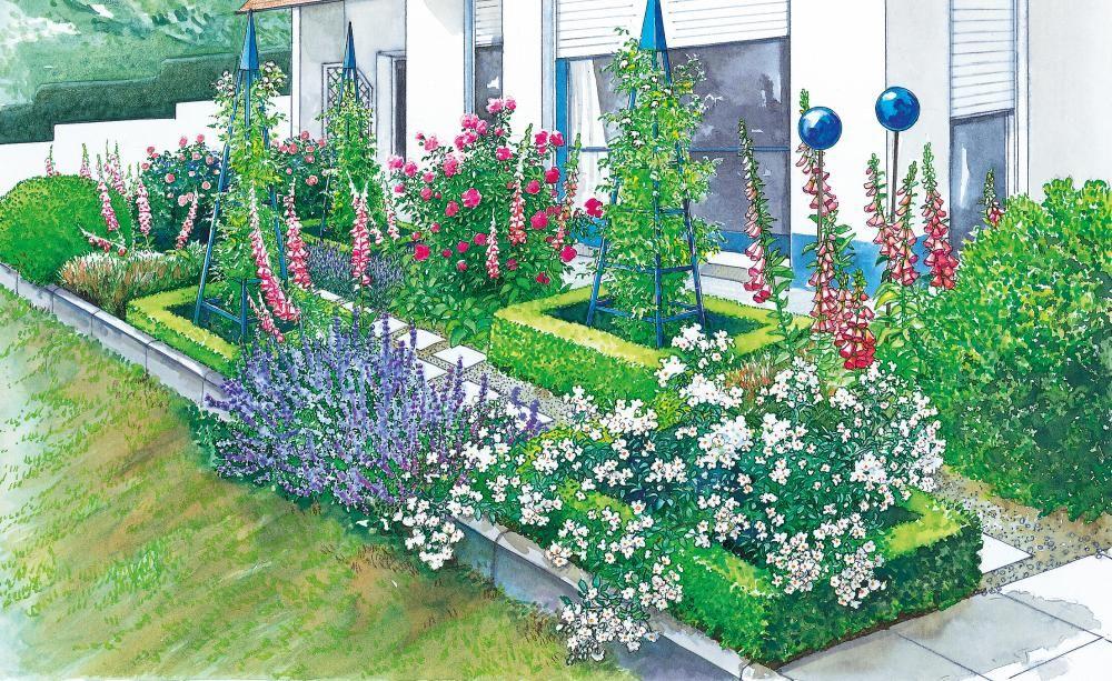 Neue gestaltung f r den vorgarten vorher nachher - Pflanzplan vorgarten ...