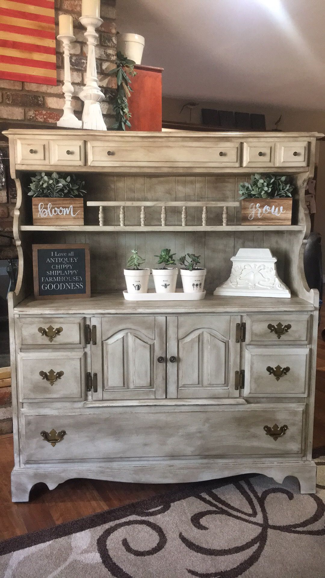 Farmhouse Hutch With Dark Wax Chalk Paint