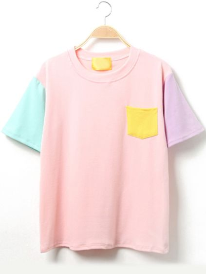 Color Block Short Sleeve T Shirt With Pocket Clothes Shirts Pastel Shirt