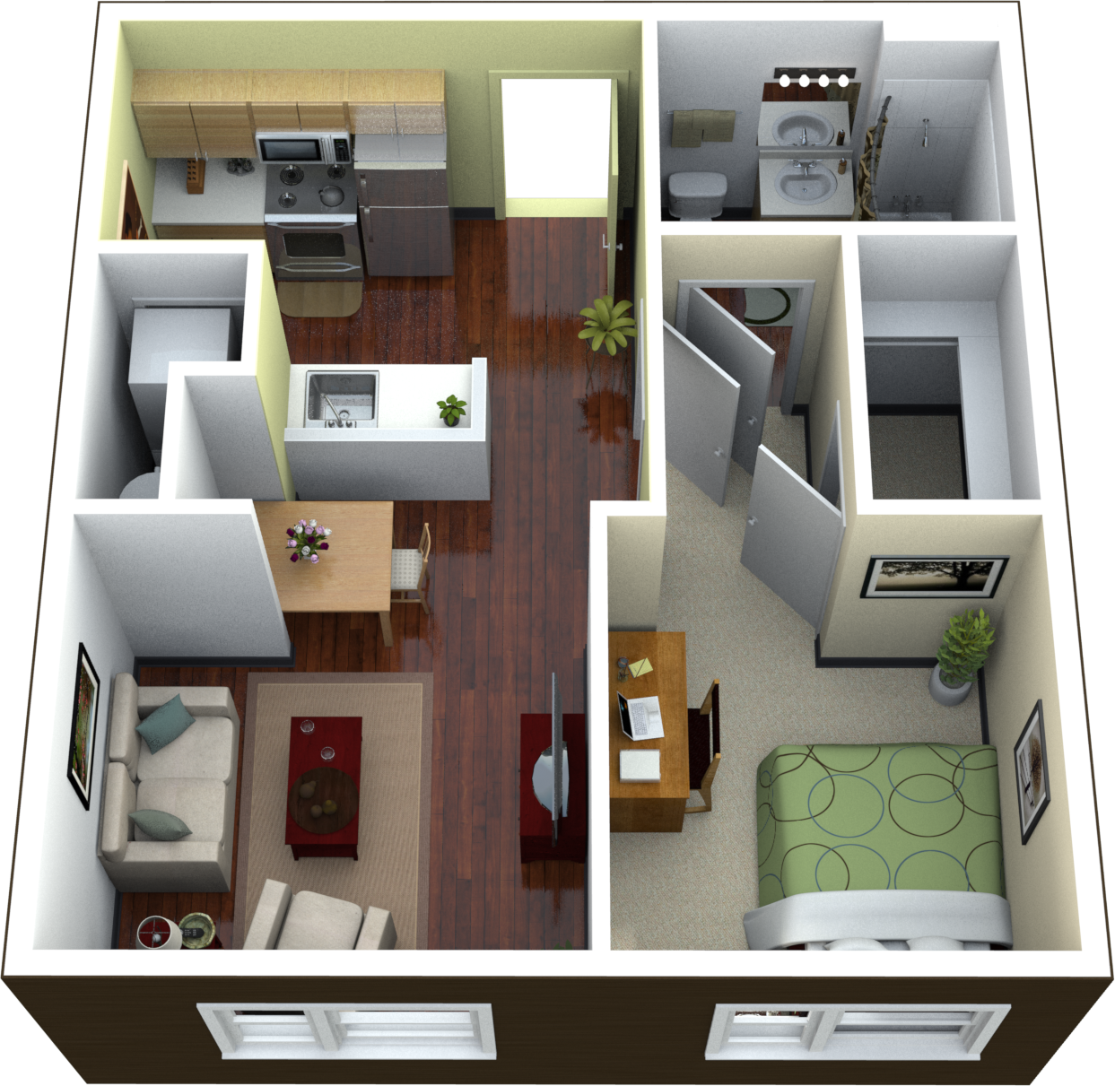 1 bedroom floor plans for apartment design ideas 2017 for Small 1 room flat