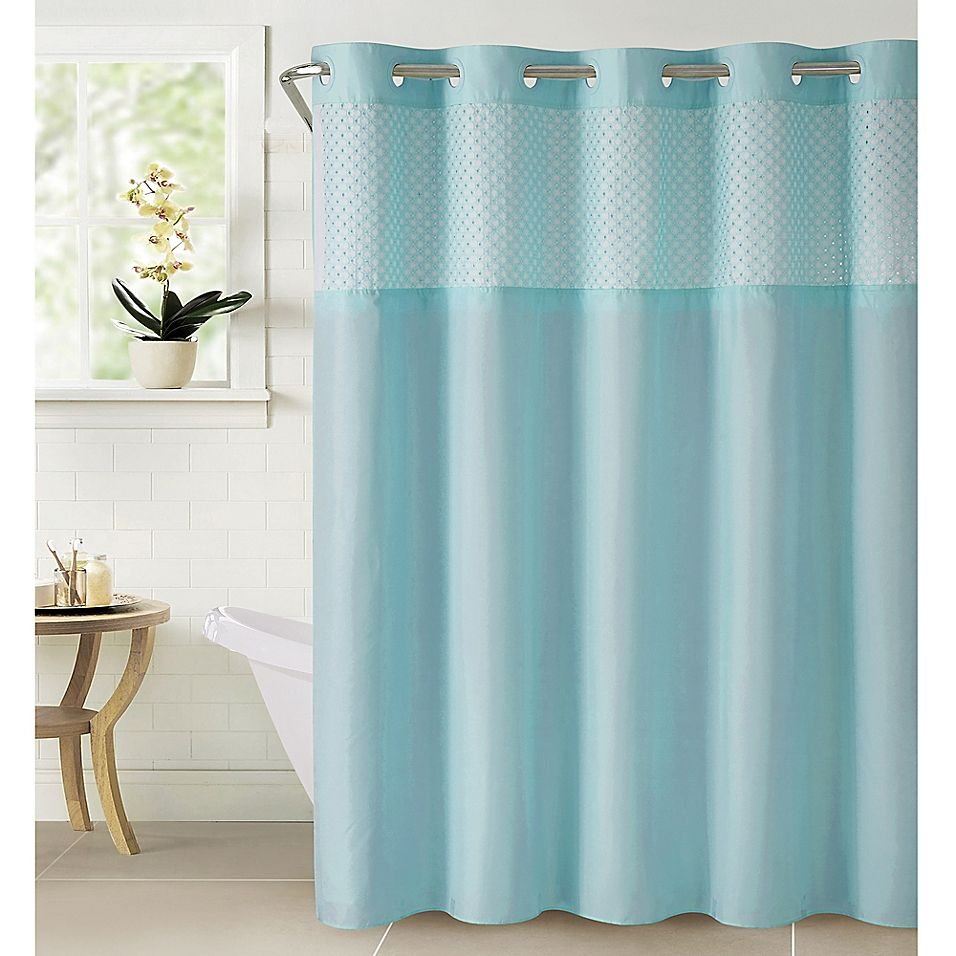 Hookless Bahamas Eyelet Shower Curtain In Crystal Shower
