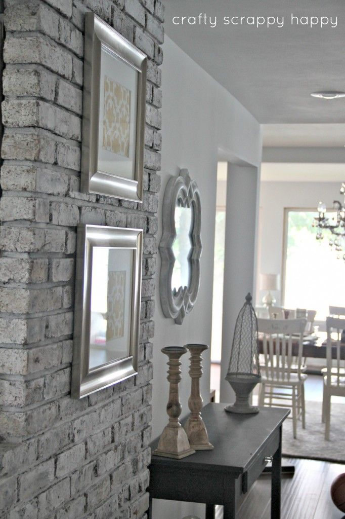 Outdated To Cottage Chic Brick Wall   Painting Tips /Tutorial: How To  Transform Brick Inside Your Home) By Crafty Scrappy Happy   Using Annie  Sloan Chalk ...