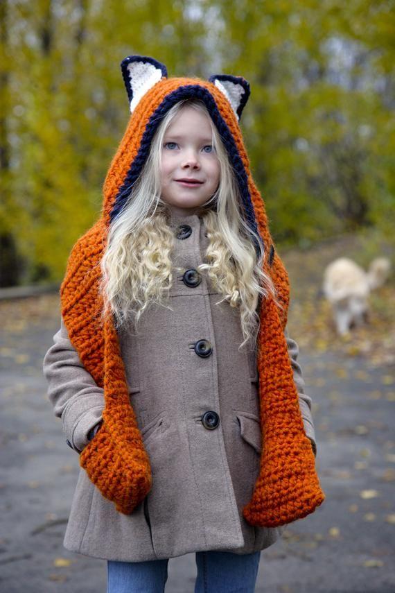 Fox Hooded Scarf Fox Hooded Cowl Fox Hat Fox Cowl Fox Hood