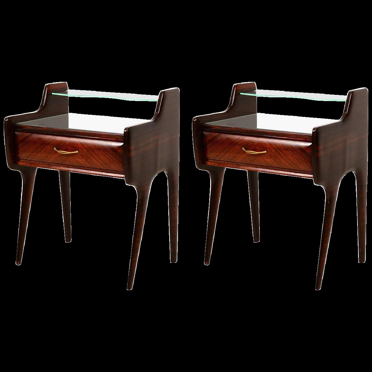 Best Italian Rosewood Walnut And Glass Nightstands Glass 640 x 480