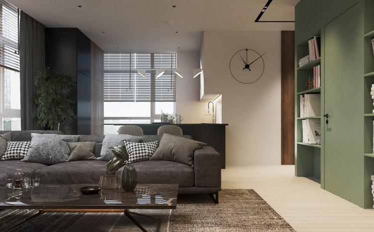 Pastelgrün Wandfarbe Zimmertür Wandregale Graues Sofa #interiordesign  #decoration #pastel #green #relax