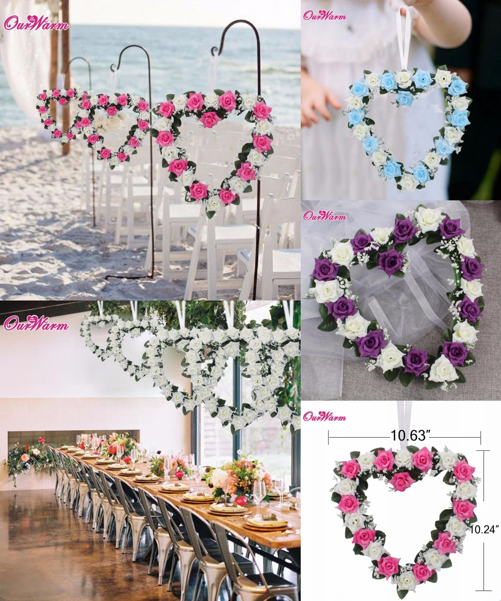 Wedding decorations on cars  Visit to Buy Heart Shaped Rose Wreath Hanging Wreaths Flowers