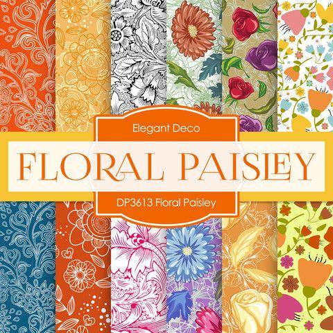 Floral Paisley Digital Paper Dp3613 Digital Paper Paper Paper Floral
