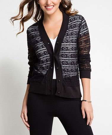 Another great find on #zulily! Black Lace Button-Up Cardigan ...