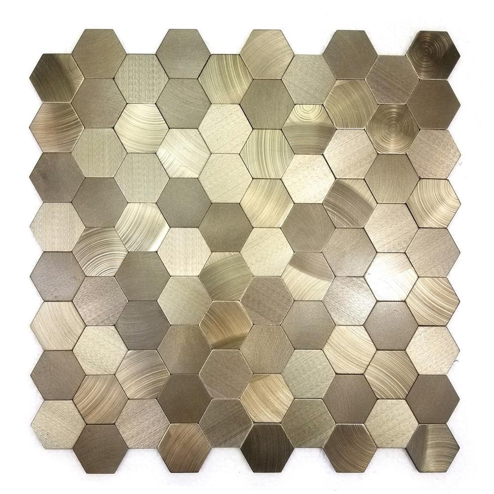 Abolos Enchanted Metals 12 In X 12 In Copper Aluminum Hexagon Peel - Peel-and-stick-backsplash-tile-decoration