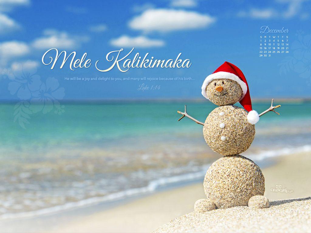 December 2013 Mele Kalikimaka Desktop Calendar Free December
