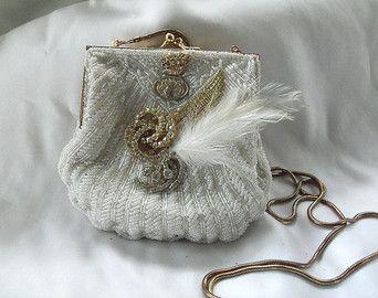 Sac à main mariage, steampunk blanc perlé embrayage, couture