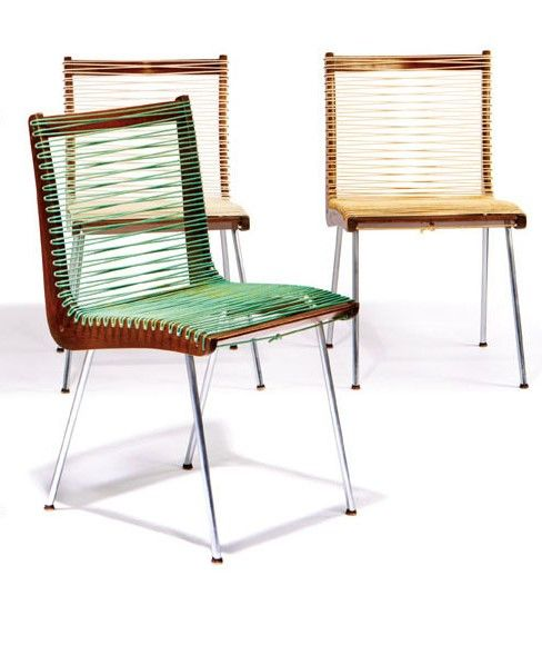 California Modern Group of string chairs (6) Designed c. 1958