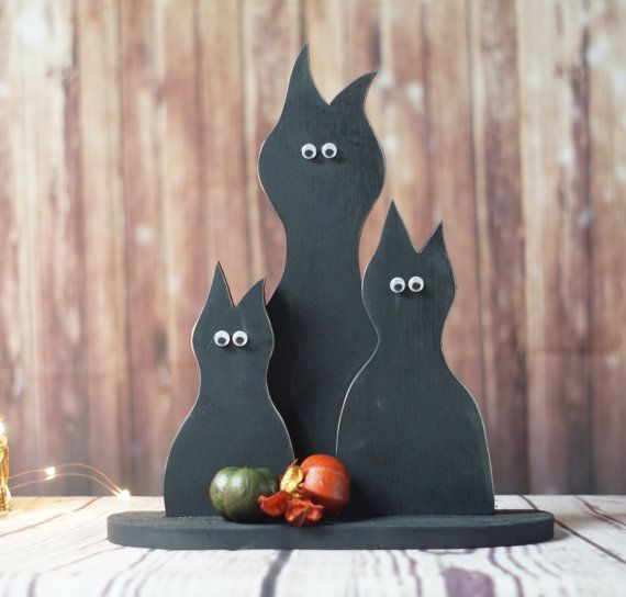 Primitive Black Cat Set, Halloween Decor, Rustic Fall Decor, Fall