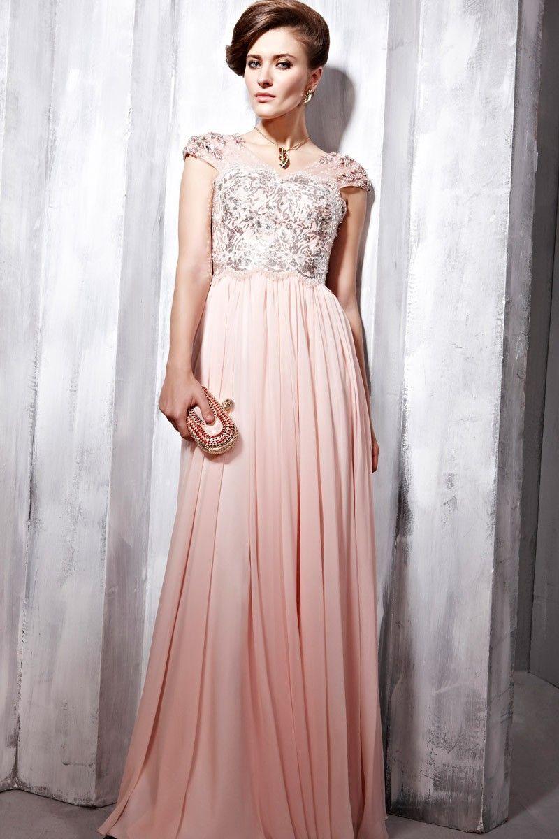 A-Line Floor-Length V-Neck Pink Chiffon Dress - | my style | Pinterest