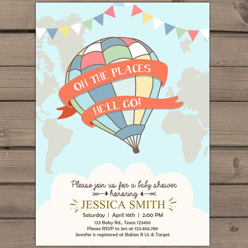 The places he\'ll will go Baby shower invitation World map baby ...