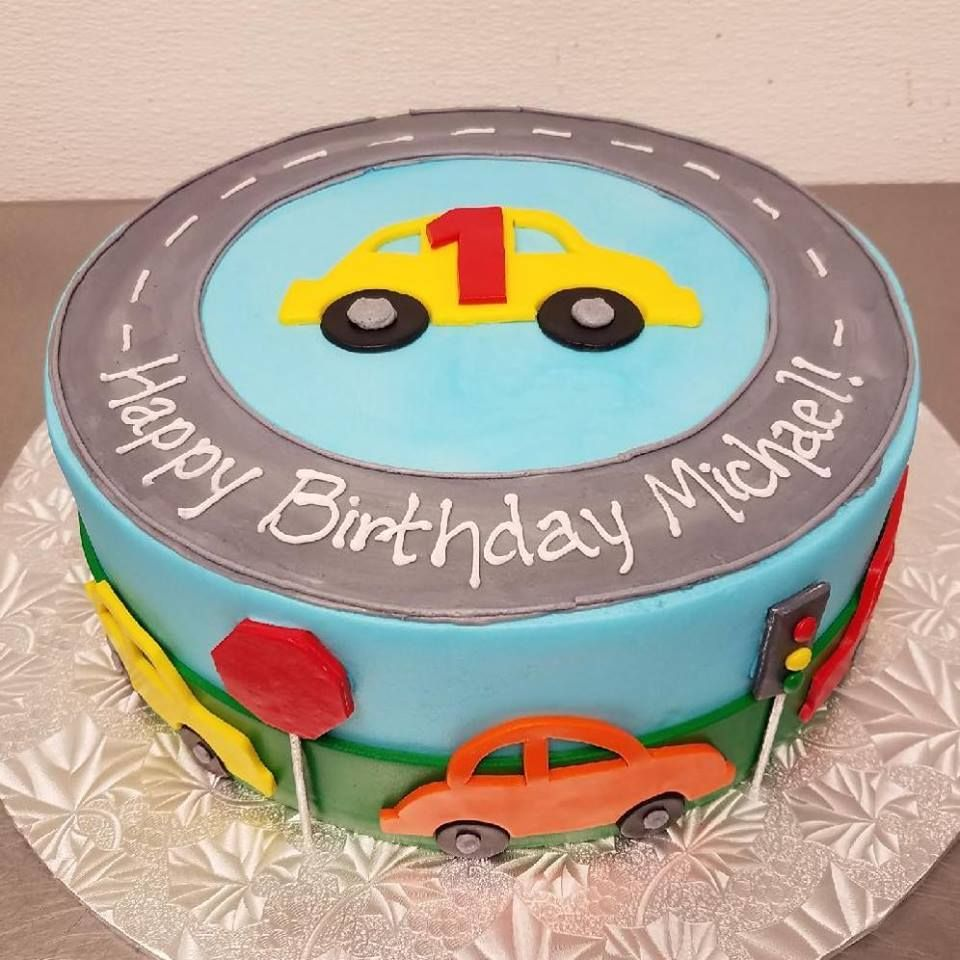Cool Car Themed First Birthday Cake With Images Cars Birthday Cake Funny Birthday Cards Online Hendilapandamsfinfo