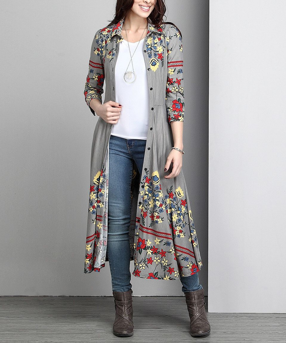 Reborn Collection Gray Floral Maxi Cardigan - Plus | Maxi cardigan ...