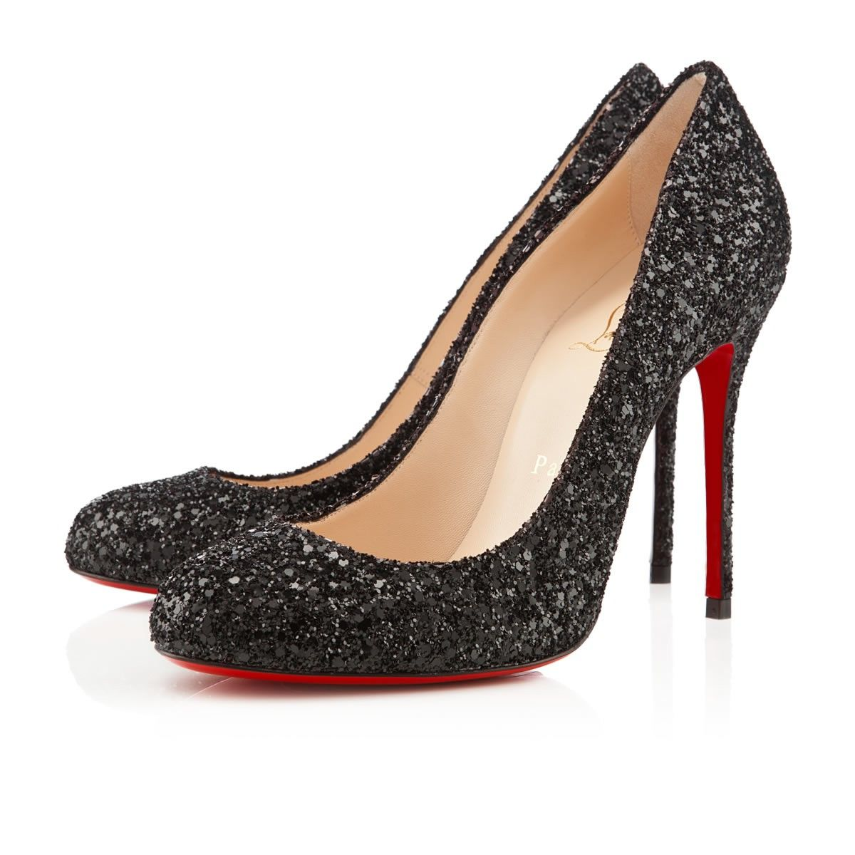 christian louboutin black glitter shoes