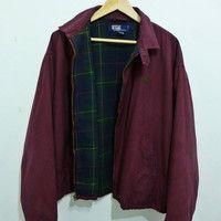 529bcfc8f Rare Vintage POLO By RALPH LAUREN pony golf Harrington lined flannel Bomber  jacket