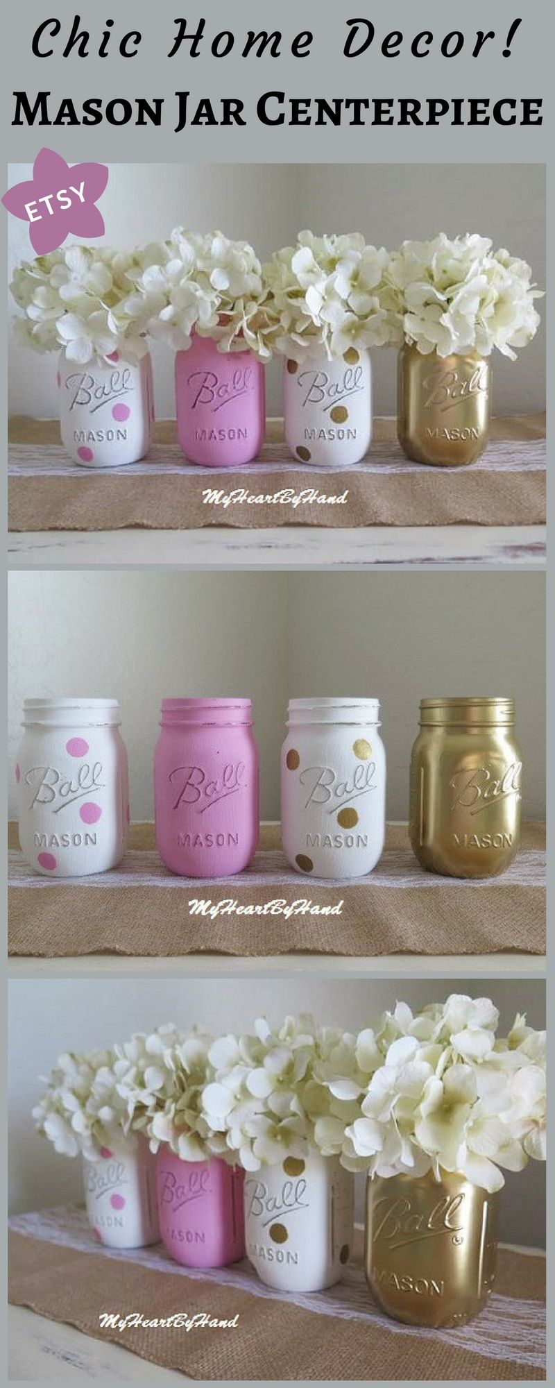 Pink and gold centerpieces pink mason jar decor pink and gold baby