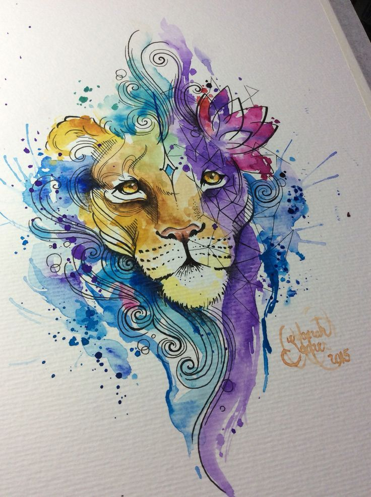 Watercolor Lion, for a tattoo.  Artist: Deborah Deh Soares. Studio Lotus Tattoo, Campinas - SP, Brazil. Facebook.comstudiolotustatuagem.