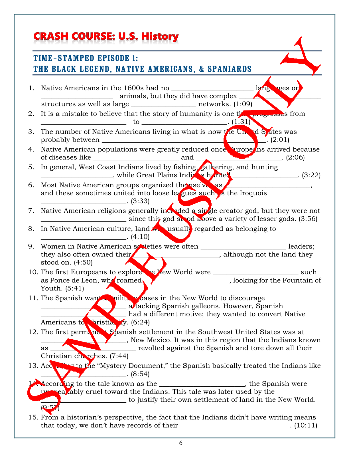 Worksheets American History Worksheets crash course u s history worksheets episodes 1 5 make teaching learning fun a mix of tf fill in and free answer formats these histo