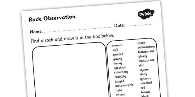 Rock Observation Worksheet rocks materials rocks worksheet – Rock Worksheets