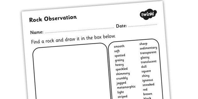 Rock Observation Worksheet Rocks Materials Rocks Worksheet