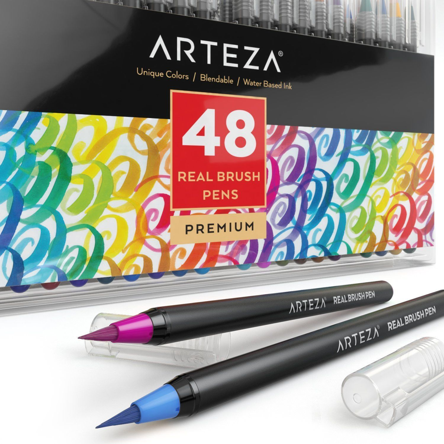 Real Brush Pens Set Of 48 Brush Pen Pen Watercolor Pen Sets