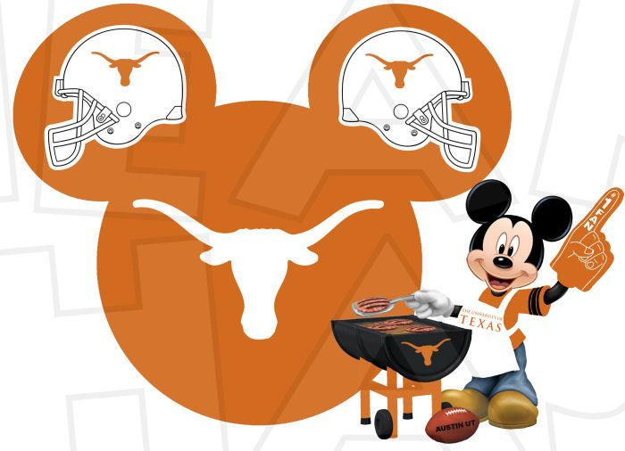 texas longhorns football with mickey mouse instant download digital rh pinterest com texas longhorn football logo clipart texas longhorn cattle clipart